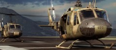 CG image render of two 3D modeled brown camouflage Bell UH-1 Hueys taking off